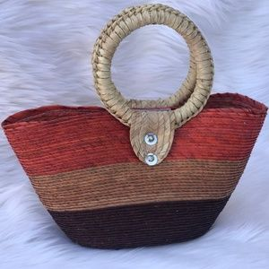 Handbags - Straw handbag round handles Brown Tan Dark Orange
